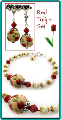 Red Tulips Bracelet and Earrings