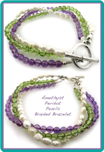 Amethyst, Peridot, and Freshwater Pearls Braided Bracelet