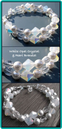 White Opal Crystal & Pearl Double-Strand Bracelet