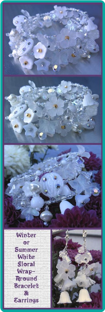 Winter or Summer White Floral Wrap-Around Bracelet