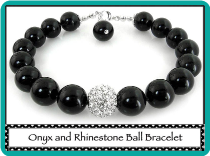 Onyx and Rhinestone Ball Bracelet