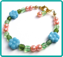 Sweet Blue Daisy Girl's Bracelet