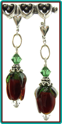 Deep Red Rosebud Lampwork Earrings