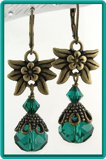 Emerald Crystal Vintage-Style Antiqued Brass Earrings