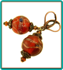 Amber and Copper Globe Earrings