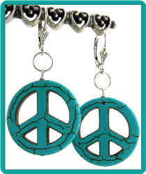 Magnesite Peace Sign Earrings