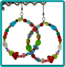 Red Lily Multicolor Beaded Hoop Earrings