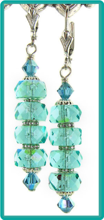 Faceted Aqua Stack Earrings