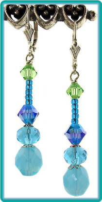 Aqua and Blue Crystal Drops Earrings