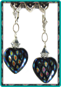 Peacock Heart Earrings