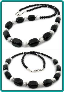 Jetstone Rectangles and Howlite Men's Bead Necklace
