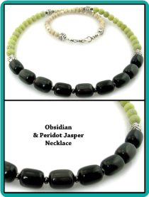 Obsidian and Peridot Jasper Men's Beaded Necklace