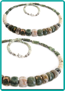 Ocean Jasper and Moss Agate Men's Beaded Necklace