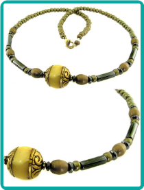 Nepalese Yellow Resin and Hematite Bead Necklace