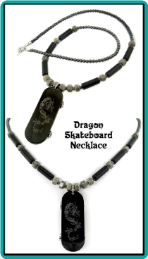 Dragon Skateboard Men's Bead Necklace