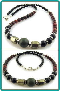 Picasso Bead, Golden Pyrite, Onyx and Jasper Men's Bead Necklace