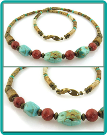 Turquoise Nugget, Sponge Coral and Picture Jasper Men's Bead Necklace