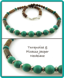 Turquoise and Picasso Jasper Men's Beaded Necklace
