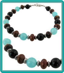 Men's Beaded Bracelet: Blue Quartz, Brown Jasper, and Onyx