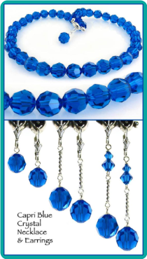 Capri Blue Crystal Necklace & Earrings