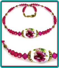 Fuchsia Flowers Porcelain Bead Necklace with Fuchsia Crystals