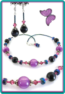 Orchid and Midnight Blue Necklace & Earrings