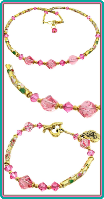 Rose Crystal, Gold Cloisonne Necklace & Bracelet