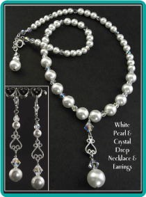 White Pearl and Crystal Scroll Drop Necklace & Earrings
