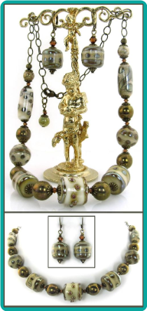 Silvered Brass Lampwork Necklace
