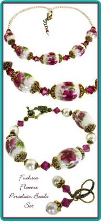 Fuchsia Flowers Porcelain Bead Necklace with Crystals and Pearls