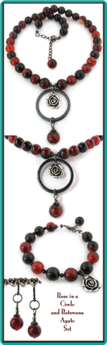 Rose in a Circle Botswana Agate Necklace Set