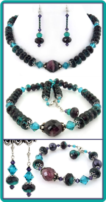 Purple and Teal Crystal Necklace Set