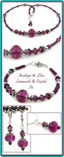 Amethyst & Lilac Lampwork & Crystal Necklace Set