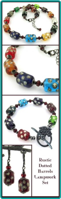 Rustic Dotted Barrels Lampwork Necklace Set