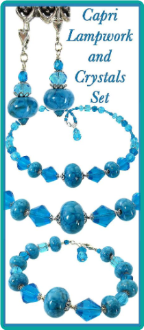 Capri Lampwork and Crystals Necklace Set
