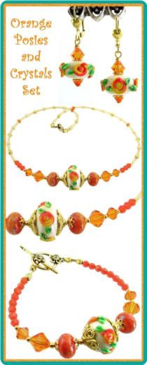 Orange Posies and Crystals Necklace Set