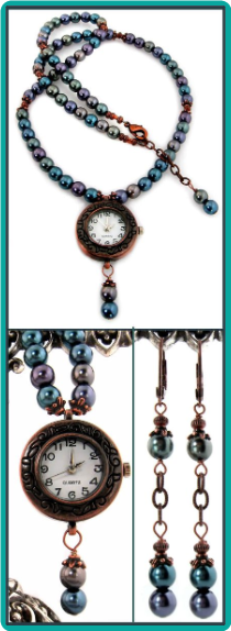 Copper Watch Necklace with Peacock Blue Pearls