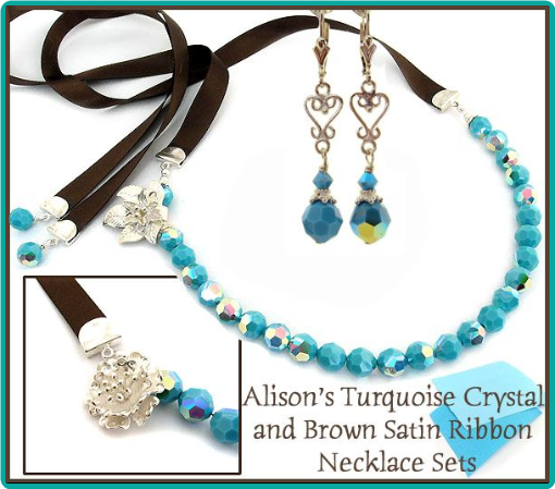 The turquoise Swarovski crystals and brown satin ribbon ties were used to make jewelry perfectly-matched to the bridesmaids' dresses.