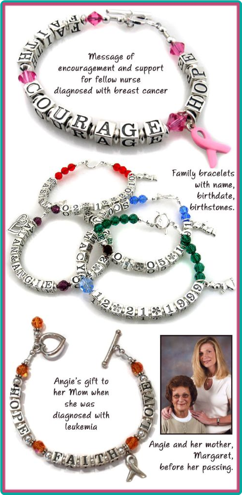"These are custom-designed family bracelets and message bracelets reading ""Faith, Courage, Love"", spelled out with sterling silver letter cubes."