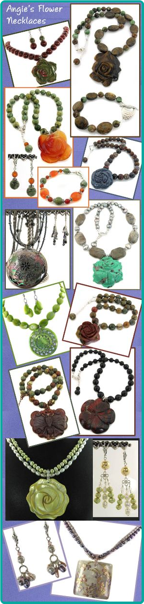 This collection of handmade, custom necklaces feature a variety of flower-shaped pendants.