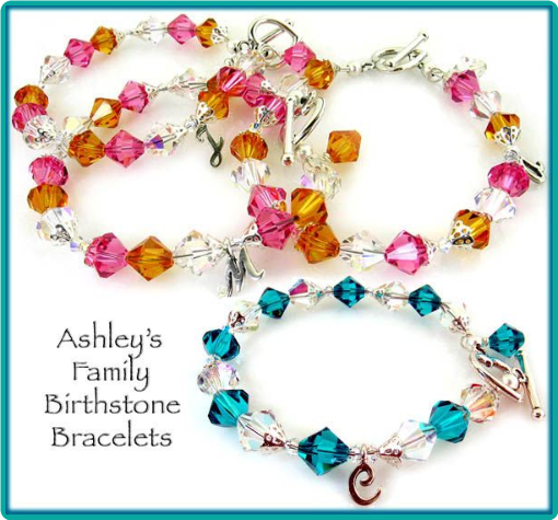 Custom Family Birthstone Bracelets Made with the Birthstone Colors of Each Family Member