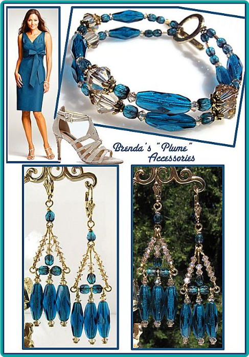 "Custom capri blue and champagne bracelet and chandelier earrings, made to math the ""plume"" color dress perfectly"
