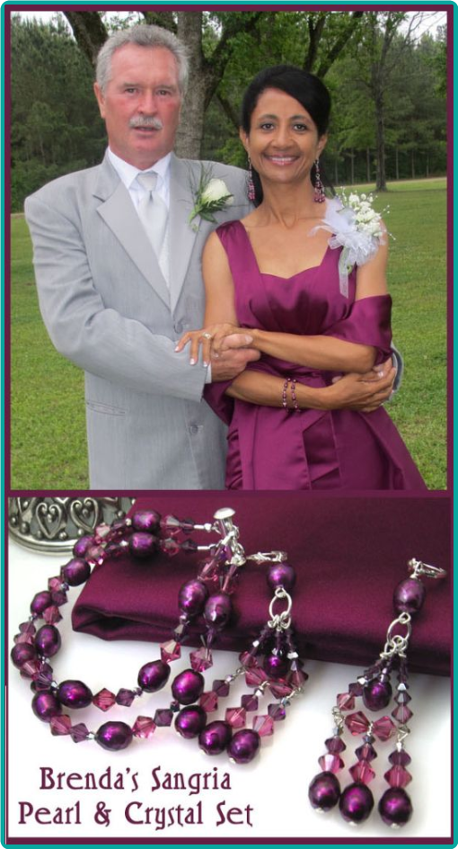 Sangria purple freshwater pearls and crystals custom bracelet and earrings