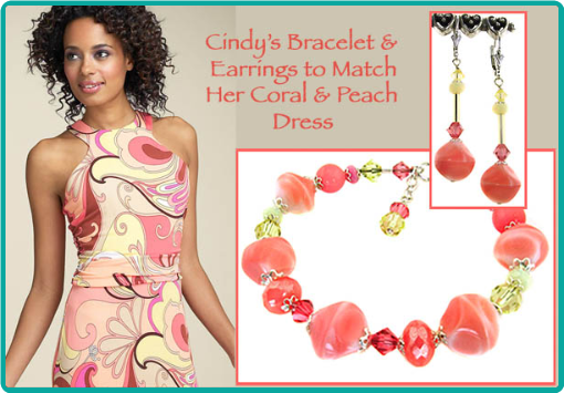 Coral, peach and lemon custom designed beaded bracelet and earrings