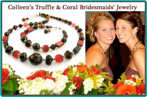 Truffle brown and rich orange beads were used in these custom necklace and bracelet sets for an autumn wedding