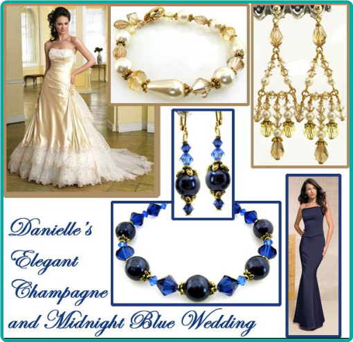 Champagne crystals and midnight blue pearls were used for bracelets and chandelier earrings for the bride and bridesmaids.