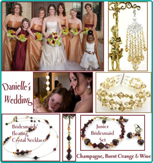 Custom made champagne and wine jewelry for the bride and bridesmaids ... stunning chandelier earrings and three-strand bracelet