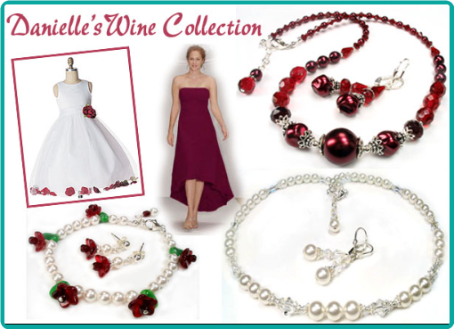 Custom wine jewelry for the bridesmaids and an adorable white pearl and wine flower bracelet for the flower girl.