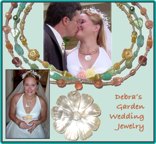 Pastel colors were used in this bride's custom-designed triple strand flower necklace