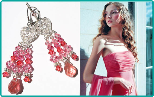 Stunning custom chandelier earrings for the bridesmaids of strawberry quartz and pink melon crystals suspended from sterling silver hearts.